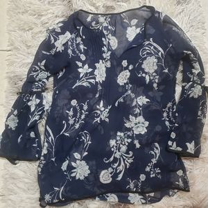 Whbm navy floral bell-sleeve blouse
